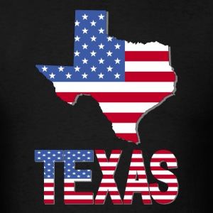 Texas Map With US Flag Clipped In - Men's T-Shirt
