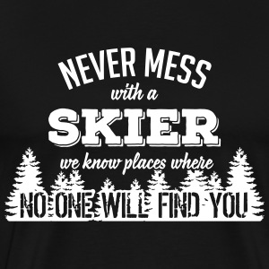 never mess with a skier T-Shirts - Men's Premium T-Shirt