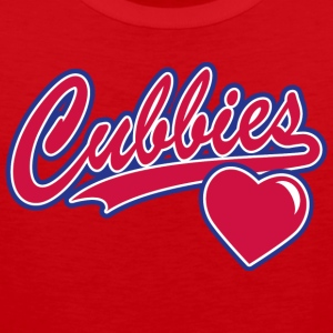 Cubbies Baseball Script Heart - Men's Premium Tank