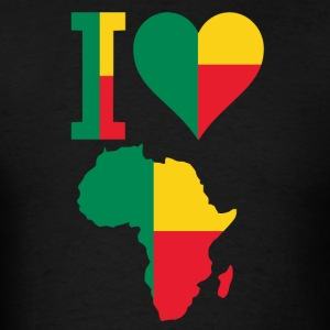 I Love Benin Flag With Africa Map T-Shirt - Men's T-Shirt