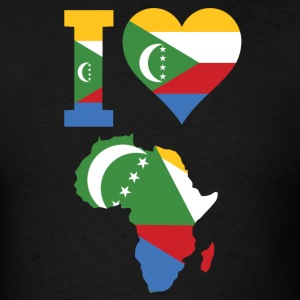 I Love Africa Map With Comoros Flag T-Shirt - Men's T-Shirt