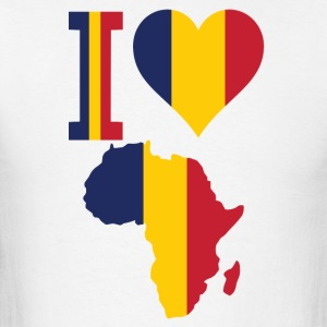 I Love Africa Map With Chad Flag T-Shirt - Men's T-Shirt