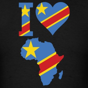 I Love Africa With Congo Flag T-Shirt - Men's T-Shirt