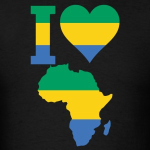 I Love Africa Map Gabon Flag T-Shirt - Men's T-Shirt