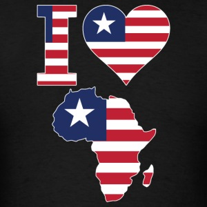 I Love Africa Map Liberia Flag T-Shirt - Men's T-Shirt
