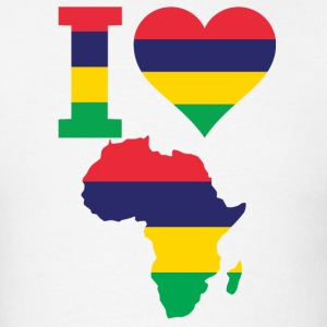 I Love Africa Map Mauritius Flag T-Shirt - Men's T-Shirt