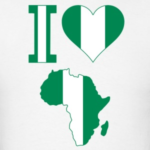 I Love Africa Map Nigeria Flag T-Shirt - Men's T-Shirt