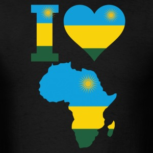 I Love Africa Map Rwanda Flag T-Shirt - Men's T-Shirt