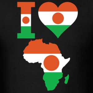 I Love Africa Map Niger Flag T-Shirt - Men's T-Shirt