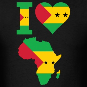 I Love Africa Map Sao Tome Flag T-Shirt - Men's T-Shirt