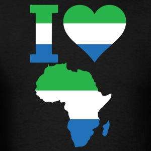 I Love Africa Map Sierra Leong Flag - Men's T-Shirt