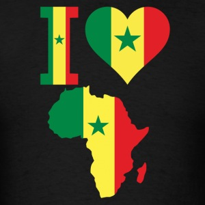 I love Africa Map Senegal Flag T-Shirt - Men's T-Shirt