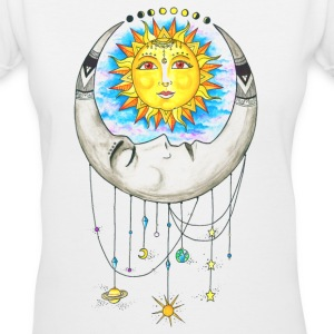 Love of the Sun and Moon - Women's V-Neck T-Shirt