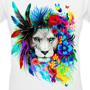 Hipster Lion - Women's V-Neck T-Shirt