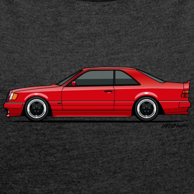Mercedes Benz W124 300CE Coupe AMG Widebody Red | Women's Roll Cuff T-Shirt