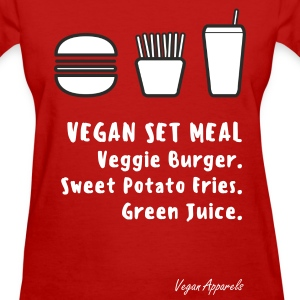 Vegan Set Meal Ladies Cotton T-Shirt - Women's T-Shirt