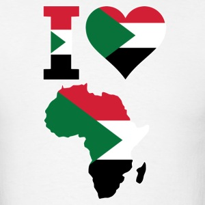 I Love Africa Map With Sudan Flag - Men's T-Shirt