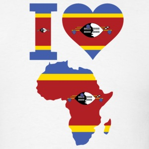 i Love Africa Map With Swaziland Flag - Men's T-Shirt