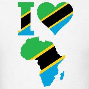 I Love Africa Map Tanzania Flag - Men's T-Shirt