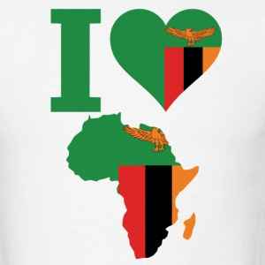 I Love Africa Map Zambia Flag - Men's T-Shirt