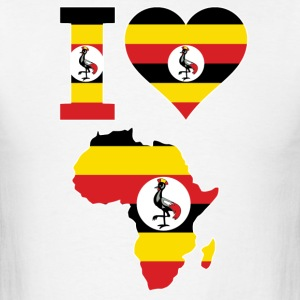 I love Africa Map Uganda Flag - Men's T-Shirt