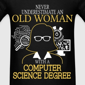 Never Underestimate Old Woman Computer Science T-Shirts - Men's T-Shirt