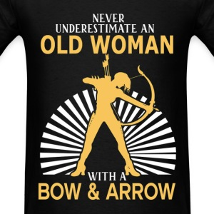 Never Underestimate Old Woman With Bow & Arrow T-Shirts - Men's T-Shirt