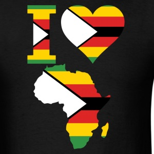 I Love Africa Map Zimbabwe Flag - Men's T-Shirt