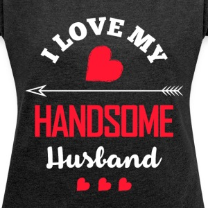 Marriage Date Night Tee – I Love My Handsome Hus - Women´s Rolled Sleeve Boxy T-Shirt