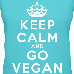 Keep Calm Go Vegan T-Shirts - Women's V-Neck T-Shirt
