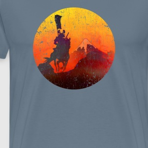 Samurai Mt Fuji Sunrise (vintage look) - Men's Premium T-Shirt