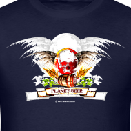 Design ~ Planet Beer Skull & Keg Gothic Men's T-Shirt