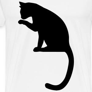 cat licking - Men's Premium T-Shirt