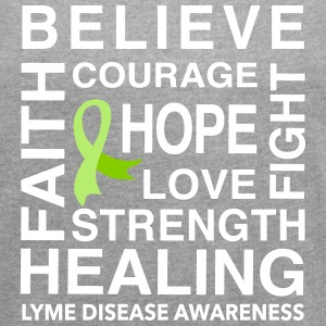 BELIEVE, HOPE, HEALING. LYME DISEASE - Women´s Rolled Sleeve Boxy T-Shirt
