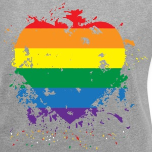 Gay Pride Paint Splatter Heart - Women´s Rolled Sleeve Boxy T-Shirt