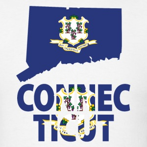 Connecticut Flag in Connecticut Map T-Shirt - Men's T-Shirt