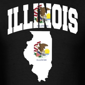 Illinois Flag in Illinois Map T-Shirt - Men's T-Shirt