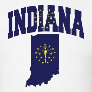 Indiana Flag in Indiana Map T-Shirt - Men's T-Shirt