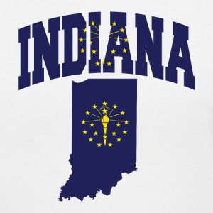 Indiana Flag in Indiana Map V-Neck Tee - Women's V-Neck T-Shirt