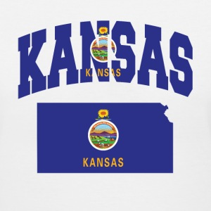Kansas Flag In Kansas map V-Neck tee - Women's V-Neck T-Shirt