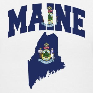 Maine Flag in Maine Map V-Neck tee - Women's V-Neck T-Shirt