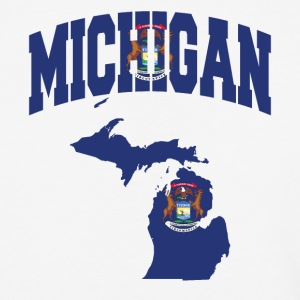 Michigan Flag in Michigan Map Baseball tee - Baseball T-Shirt