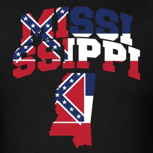 Mississippi Flag In Mississippi Map T-Shirt  Tee - Men's T-Shirt
