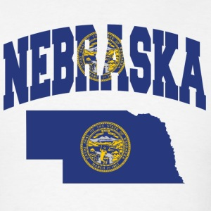 Nebraska Flag in Nebraska Map T-Shirt - Men's T-Shirt