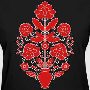 Red and white on black Ukrainian Tree of Life. - Women's T-Shirt
