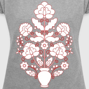 White and red Ukrainian Tree of Life. - Women's Roll Cuff T-Shirt