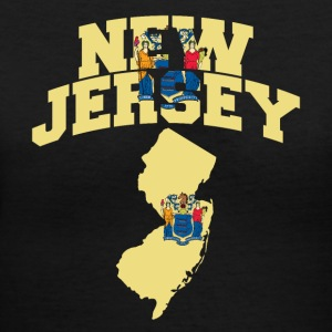 New Jersey Flag in New Jersey Map V-Neck Tee - Women's V-Neck T-Shirt
