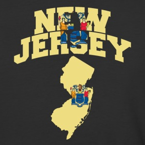 New Jersey Flag in New Jersey Map Baseball Tee - Baseball T-Shirt
