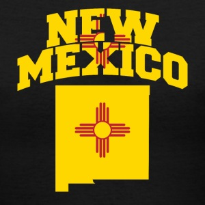 New Mexico Flag in New Mexico Map V-Neck Tee - Women's V-Neck T-Shirt