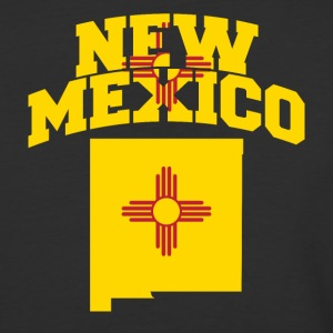 New Mexico Flag in New Mexico Map Baseball Tee - Baseball T-Shirt